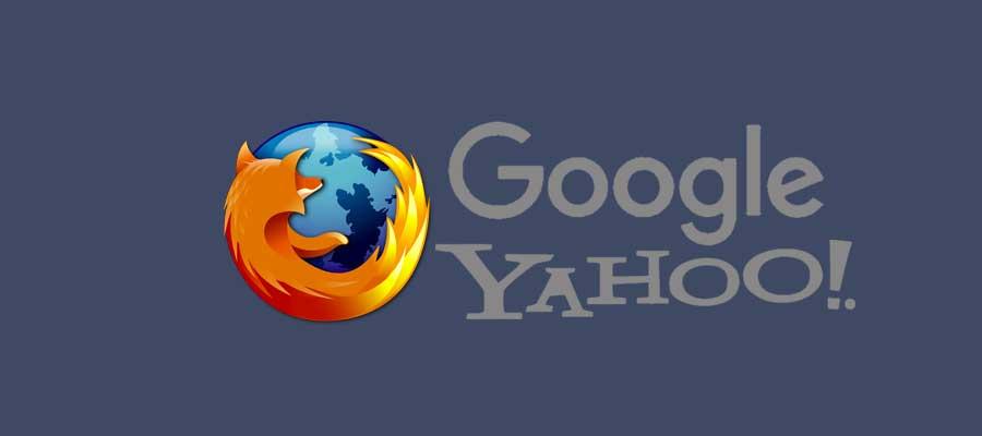 Firefox vervangt de standaard Google zoekfunctie door Yahoo!
